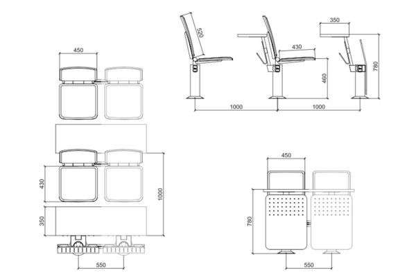 lecture theatre desks RT-9970-3